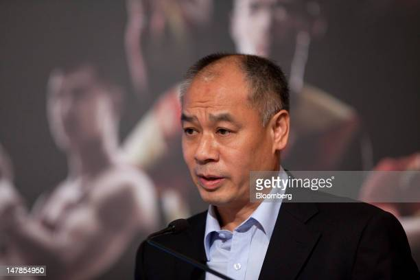 Li Ning founder and chairman of Li Ning Co speaks during a news conference in Hong Kong China on Thursday July 5 2012 Li Ning Co surged in Hong Kong...