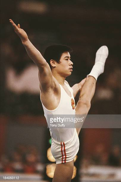 Li Ning of China performs during the Men's Floor Exercise event on 4th August 1984 during the XXIII Olympic Summer Games at the Edwin W Pauley...