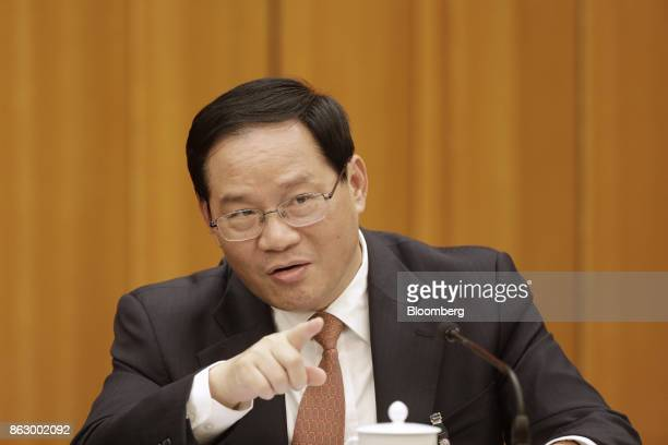 Li Qiang Chinese Communist Party secretary of Jiangsu Province attends a delegation meeting at the Great Hall of the People during the 19th National...