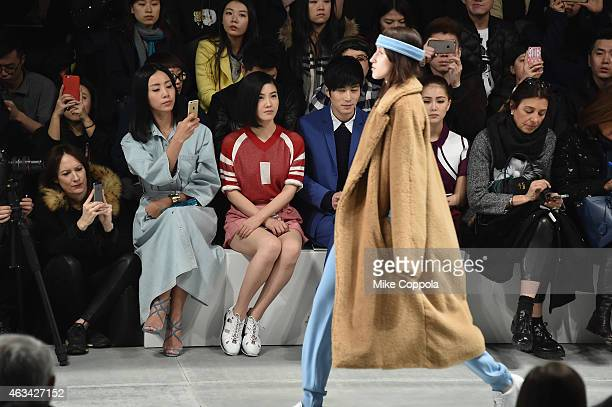 Li Sun actress Yang Zishan actor Chen Xuedong and Hannah Jay Chou attend the Lacoste fashion show during MercedesBenz Fashion Week Fall 2015 at The...