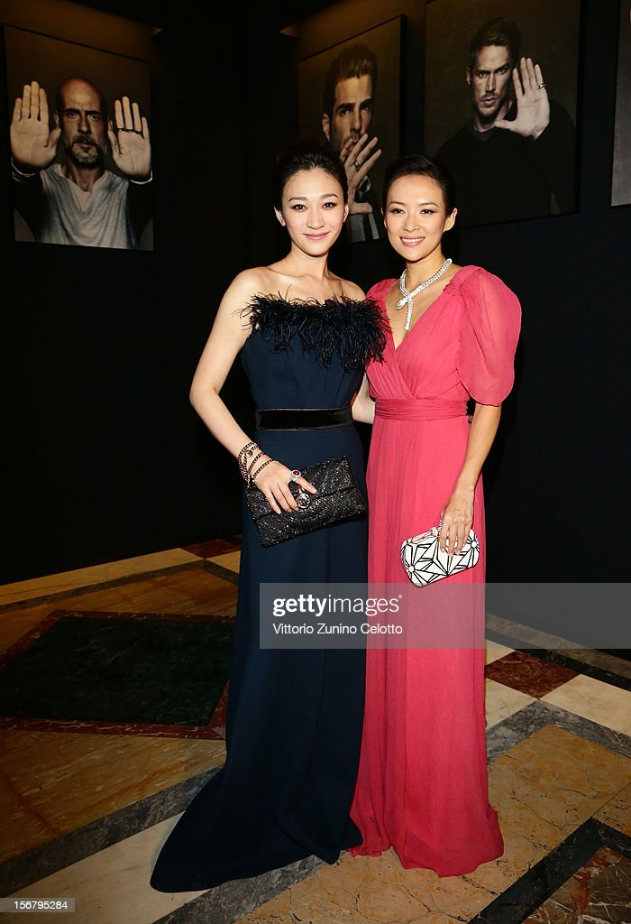 Li Xiaoran and Zhang Ziyi attend the Bulgari 'Stop Think Give' exhibition preview and cocktail at Palazzo Pecci Blunt on November 15, 2012 in Rome, Italy.