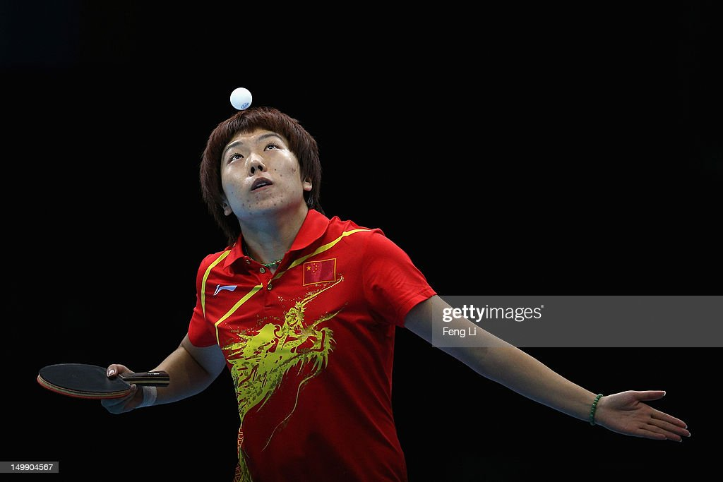 Li Xiaoxia of China competes during Women's Team Table Tennis semifinal match against team of Korea on Day 10 of the London 2012 Olympic Games at ExCeL on August 6, 2012 in London, England.