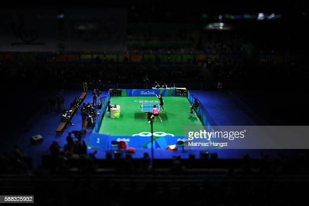 Li Xiaoxia of China in action during the Womens Table Tennis Singles Final match against Ning Ding of China at Rio Centro on August 10 2016 in Rio de...