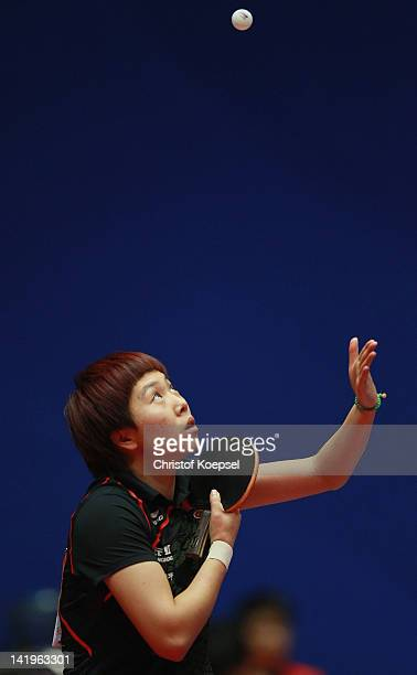 Li Xiaoxia of China serves during her match against Szandra Pergel of Hngary during her match against Krzistina Toth of Hungary during the LIEBHERR...