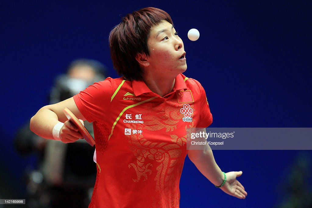 Li Xiaoxia of China serves during her match against Tie Yana of Hongkong during the LIEBHERR table tennis team world cup 2012 championship division women's semi-final match between China and Hongkong at Westfalenhalle on March 31, 2012 in Dortmund, Germany.