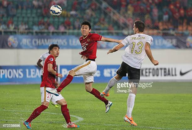 Li Xuepeng of Guangzhou Evergrande in action during the AFC Asian Champions League match between Guangzhou Guangzhou Evergrande and Western Sydney...