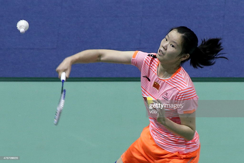 <a gi-track='captionPersonalityLinkClicked' href=/galleries/search?phrase=Li+Xuerui&family=editorial&specificpeople=6903025 ng-click='$event.stopPropagation()'>Li Xuerui</a> of China competes against Akane Yamaguchi of Japan during Women's Singles match in the finals on day eight of 2015 Sudirman Cup BWF World Mixed Team Championships at Dongfeng Nissan Sports Center on May 17, 2015 in Dongguan, China.