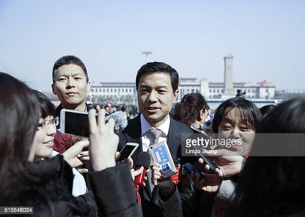 Li Yanhong CEO of Baiducom attends for the Closing Ceremony of the Chinese People's Political Consultative Conference on March 14 2016 in Beijing...