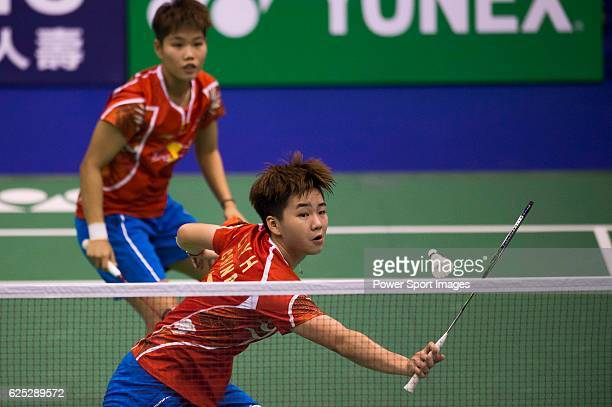 Li Yinhui and HUANG Dongping of China in action while playing against CHIANG Kai Hsin and HUNG Shih Han of Chinese Taipei during the 2016 Hong Kong...