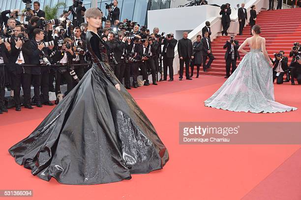 Li Yuchun AKA Chris Lee and Araya A Hargate attend 'The BFG ' premiere during the 69th annual Cannes Film Festival at the Palais des Festivals on May...