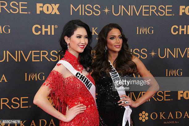 Li ZhenYing of China and Andrea Tovar attend a red carpet event a day before the Miss Universe 2017 pageant in Pasay City south of Manila Philippines...