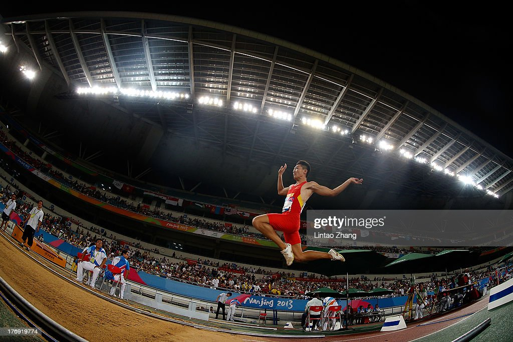 Li Zhiyong of China in action during the Boy's Long Jump Qualification-Group B during day three of the 2nd Asian Youth Games on August 19, 2013 in Nanjing, China.