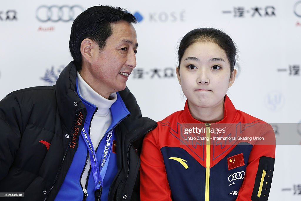 <a gi-track='captionPersonalityLinkClicked' href=/galleries/search?phrase=Li+Zijun&family=editorial&specificpeople=7380389 ng-click='$event.stopPropagation()'>Li Zijun</a> of China reacts after performing in the Ladies Short Program on day one of Audi Cup of China ISU Grand Prix of Figure Skating 2015 at Beijing Capital Gymnasium on November 6, 2015 in Beijing, China.