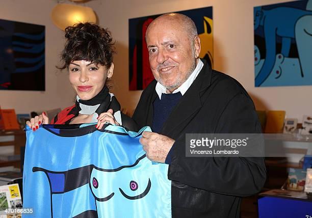 Lia Bosch and Elio Fiorucci attend the Art Therapy By Elio Fiorucci Milan Fashion Week Womenswear Autumn/Winter 2014 on February 18 2014 in Milan...