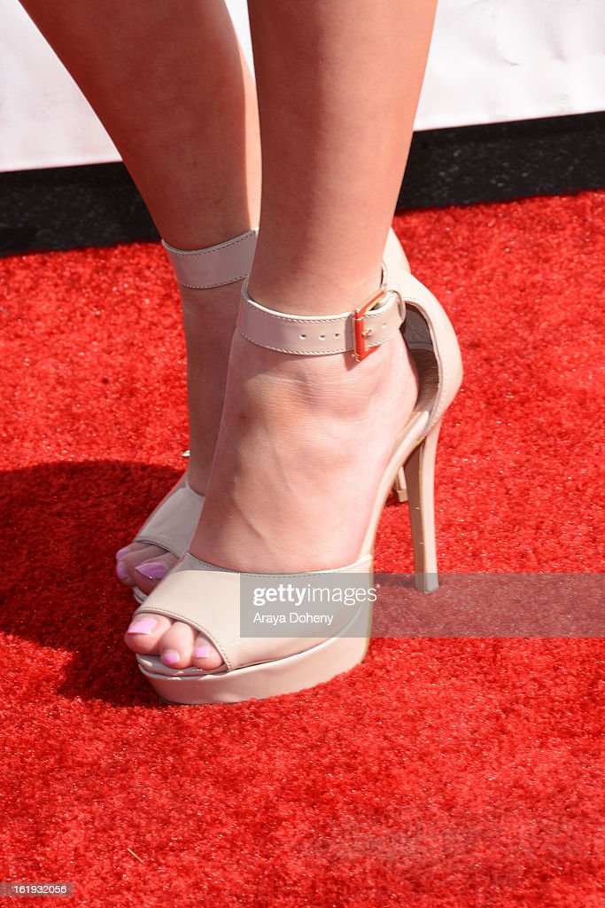 Lia Marie Johnson (shoe detail) arrives at the 3rd Annual Streamy Awards at The Hollywood Palladium on February 17, 2013 in Los Angeles, California.