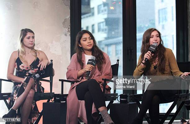Lia Marie Johnson Lulu Antariksa and Katelyn Nacon appear to discuss 'Tagged' during the AOL BUILD Series at AOL HQ on July 19 2016 in New York City
