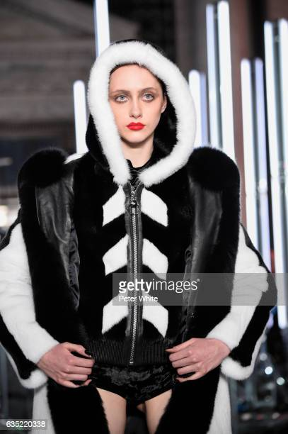 Lia Pavlova walks the runway at Philipp Plein show during New York Fashion Week The Shows at New York Public Library on February 13 2017 in New York...