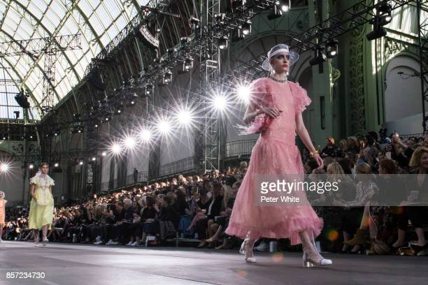 Lia Pavlova walks the runway during the Chanel Paris show as part of the Paris Fashion Week Womenswear Spring/Summer 2018 on October 3 2017 in Paris...