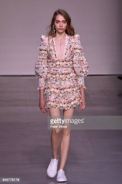 Lia Pavlova walks the runway for Zimmermann fashion show during New York Fashion Week The Shows at Spring Studios on September 11 2017 in New York...