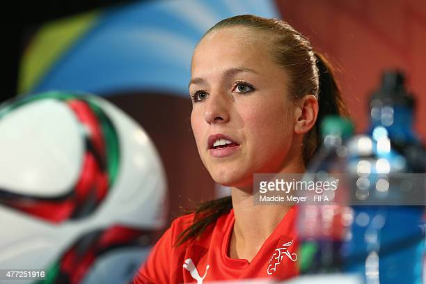 Lia Waelti of Switzerland addresses the media during a press conference before a training sessoin at Commonwealth Stadium on June 15 2015 in Edmonton...
