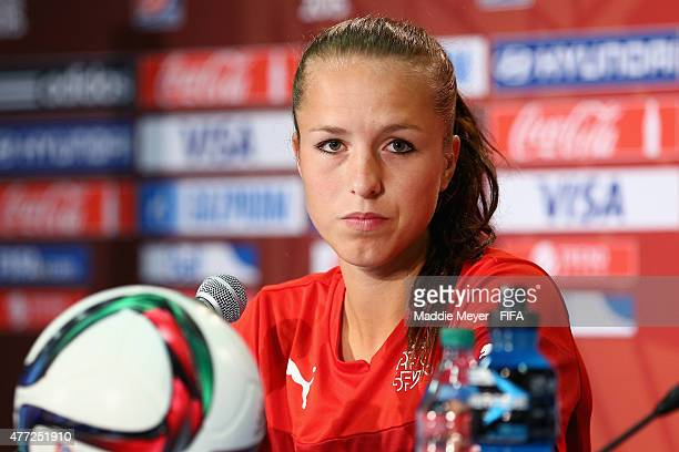 Lia Waelti of Switzerland attends a press conference before a training sessoin at Commonwealth Stadium on June 15 2015 in Edmonton Alberta Canada