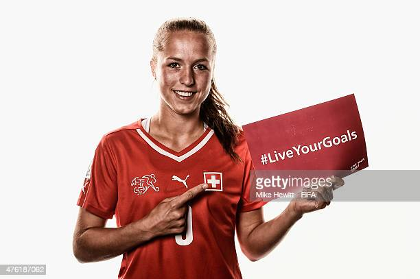 Lia Waelti of Switzerland helps to promote the #Live Your Goals project during the official Switzerland portrait session ahead of the FIFA Women's...