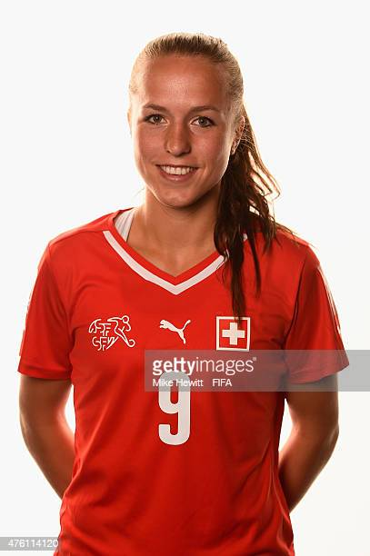 Lia Waelti of Switzerland poses for a portrait during the official Switzerland portrait session ahead of the FIFA Women's World Cup 2015 at the...