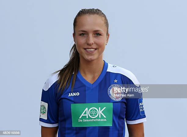 Lia Waelti poses during the official women's team presentation of 1FFC Turbine Potsdam at Luftschiffhafen on July 31 2015 in Potsdam Germany