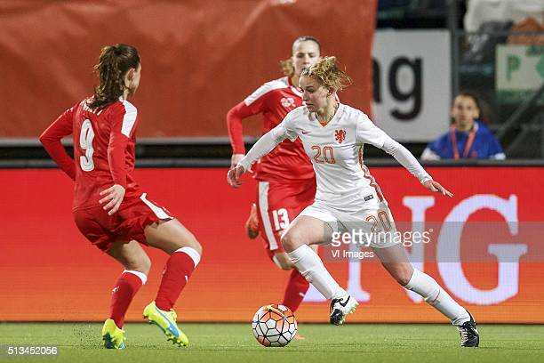 Lia Walti of Switzerland Ana Maria Crnogorcevic of Switzerland Danique Groenen of Holland during the 2016 UEFA Women's Olympic Qualifying Tournament...