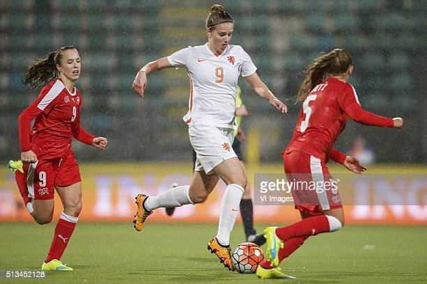 Lia Walti of Switzerland Vivianne Miedema of Holland Noelle Maritz of Switzerland during the 2016 UEFA Women's Olympic Qualifying Tournament match...