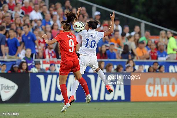 Lia Walti of the Swiss women's national team in action against Carli Lloyd of the US women's national team at WakeMed Soccer Park on August 20 2014...