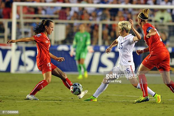 Lia Walti of the Swiss women's national team in action against Megan Rapinoe of the US women's national team at WakeMed Soccer Park on August 20 2014...