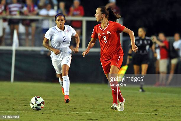 Lia Walti of the Swiss women's national team in action against the US women's national team at WakeMed Soccer Park on August 20 2014 in Cary North...