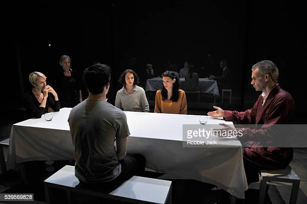 Lia Williams Annie Firbank Luke Thompson Jessica Brown Findlay Hara Yannas and Angus Wright in Aeschylus's Oresteia directed by Robert Icke at the...
