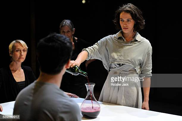 Lia Williams Luke Thompson Annie Firbank and Jessica Brown Findlay in Aeschylus's Oresteia directed by Robert Icke at the Almeida Theatre in London
