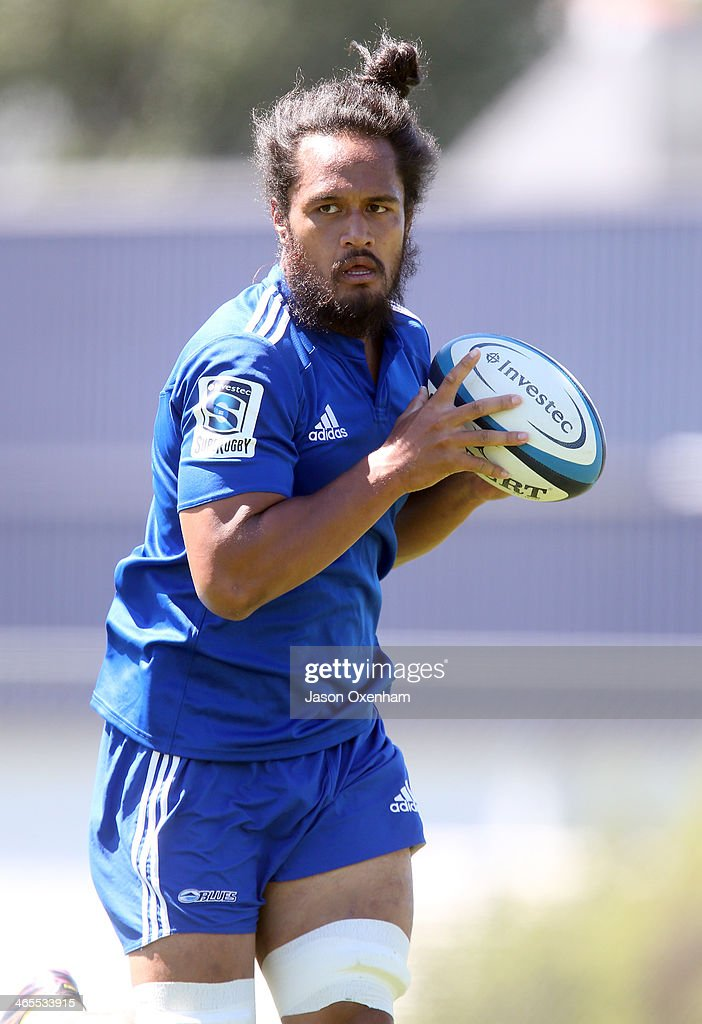 Liaki Moli during a Blues Super Rugby training session at Unitec on January 28, 2014 in Auckland, New Zealand.