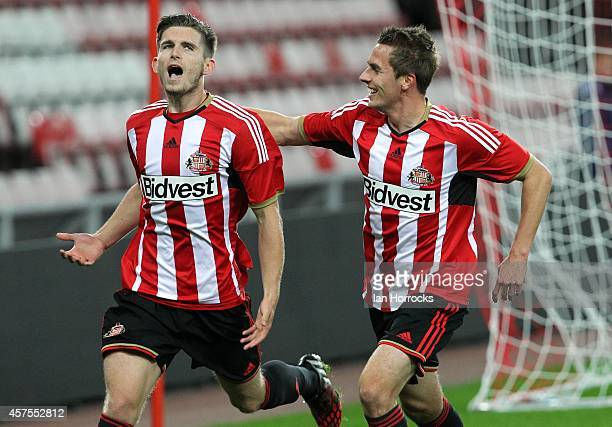 Liam Agnew of Sunderland celebrates scoring the only goal with Martin Smith during the Barclaclays U21 League match between Sunderland AFC and...