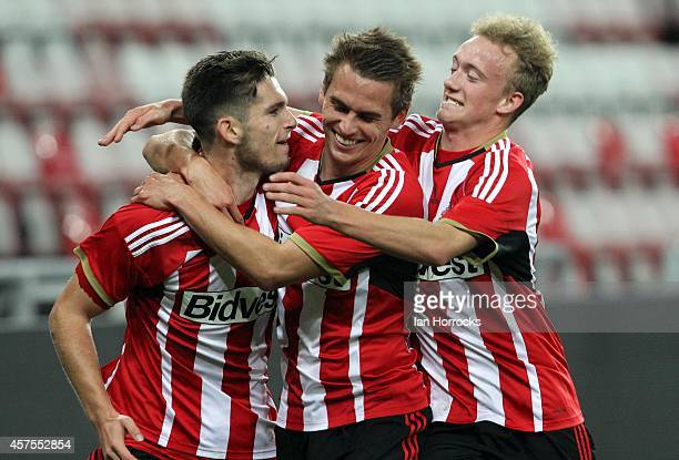 Liam Agnew of Sunderland celebrates scoring the only goal with Martin Smith and Duncan Watmore during the Barclaclays U21 League match between...