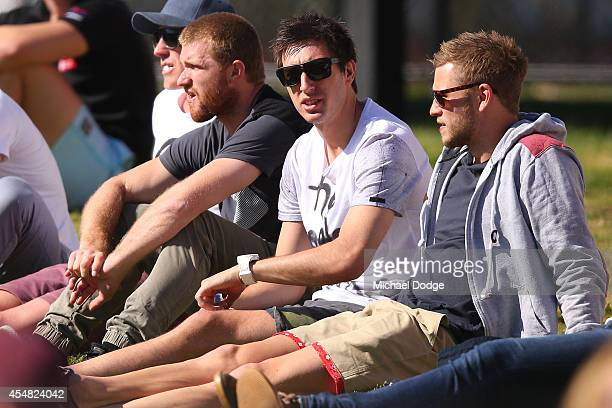 Liam Anthony Leigh Adams Sam Wright and Jamie Macmillan of the Kangaroos look on during the VFL Semi Final match between Williamstown and Werribee at...