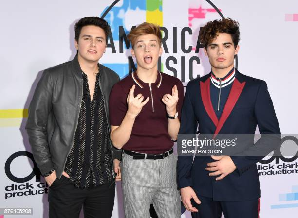 Liam Attridge Ricky Garcia and Emery Kelly of Forever In Your Mind arrive at the 2017 American Music Awards on November 19 in Los Angeles California...