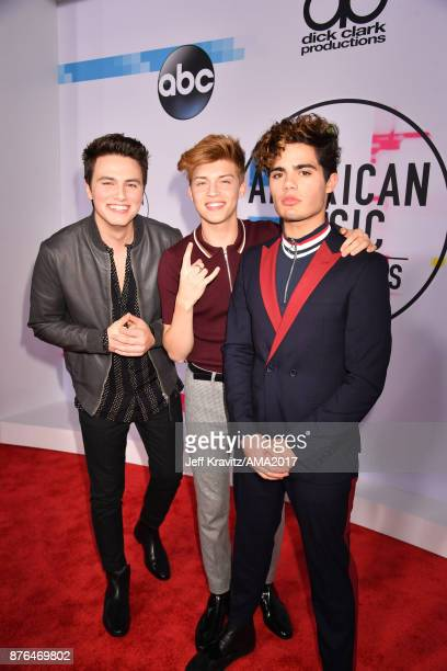 Liam Attridge Ricky Garcia and Emery Kelly of Forever In Your Mind attends the 2017 American Music Awards at Microsoft Theater on November 19 2017 in...