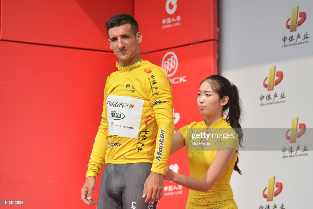 Liam Bertazzo from Willier Triestina team finishes third and keep the Leader Yellow Jersey and the Best Sprinter Blue Jersey, after the third stage of the 2017 Tour of China 1, the 140.6 km of Pingchang Circuit Race. On Thursday, 14 September 2017, in Pingchang County, Bazhong City, Sichuan Province, China.