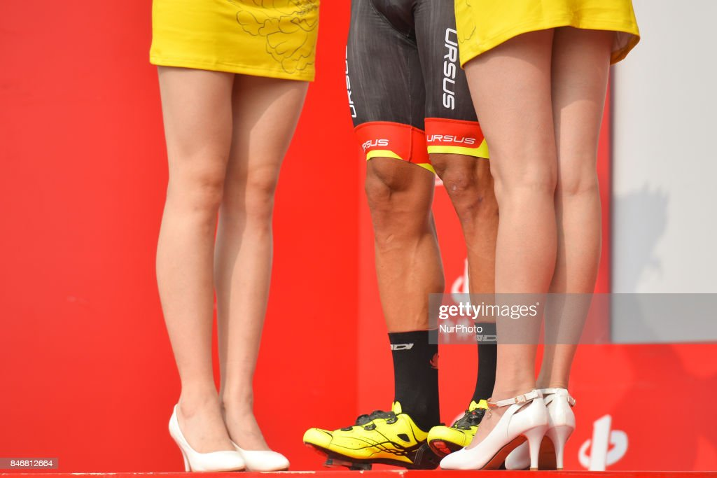Liam Bertazzo (Center) from Willier Triestina team finishes third and keep the Leader Yellow Jersey and the Best Sprinter Blue Jersey, after the third stage of the 2017 Tour of China 1, the 140.6 km of Pingchang Circuit Race. On Thursday, 14 September 2017, in Pingchang County, Bazhong City, Sichuan Province, China.