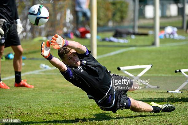 Liam Bossin goalkeeper of Rsc Anderlecht pictured during the training session of RSC Anderlecht at the Irene Sportcomplex in Tegelen on juli 10 2015...