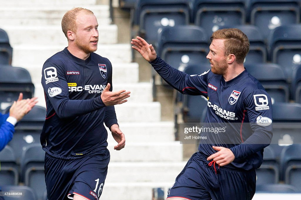 Liam Boyce (L) celebrates scoring for Ross County with Craig Curran during the Scottish premiership match between Kilmarnock and Ross County at Rugby Park on May 23, 2015 in Kilmarnock, Scotland.