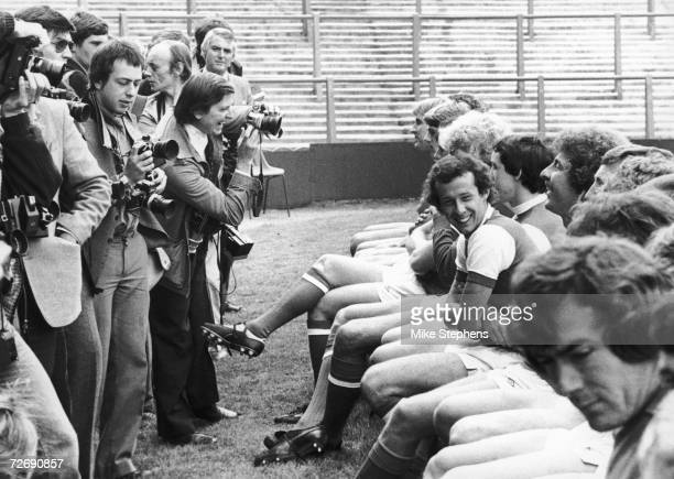 Liam Brady joking with his team mates during an Arsenal photo call with the press at their stadium in Highbury 17th July 1980 Goalkeeper Pat Jennings...
