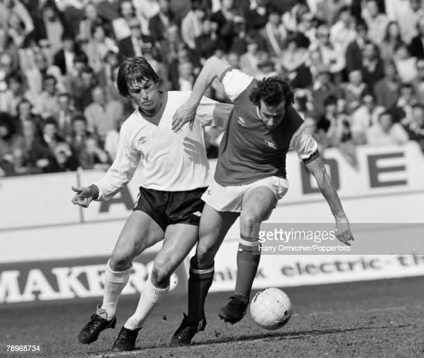 Football 12th April 1980 Hillsborough Sheffield FA Cup SemiFinal Liverpool 0 v Arsenal 0 Liverpools Kenny Dalglish challenges Arsenals Liam Brady...