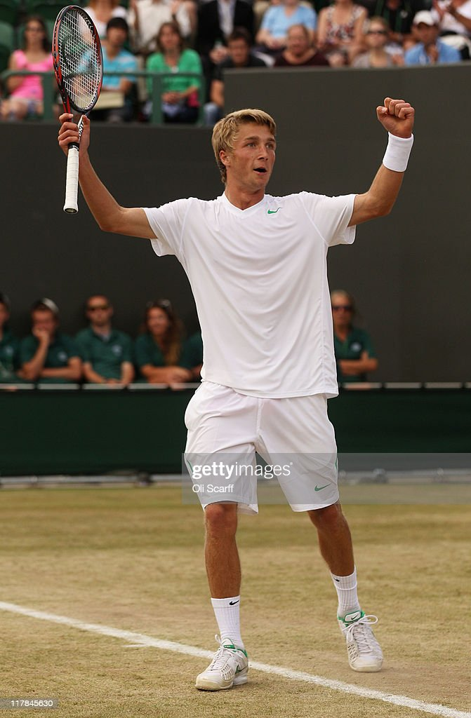 Liam Broady of Great Britain celebrates after winning his semifinal round boy's match against Jason Kubler of Australia on Day Eleven of the Wimbledon Lawn Tennis Championships at the All England Lawn Tennis and Croquet Club on July 1, 2011 in London, England.