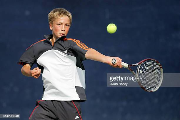 Liam Broady of Great Britain plays a forehand during the Junior Tennis Championships at The West Hants Tennis Club on August 22 2006 in Bournemouth...