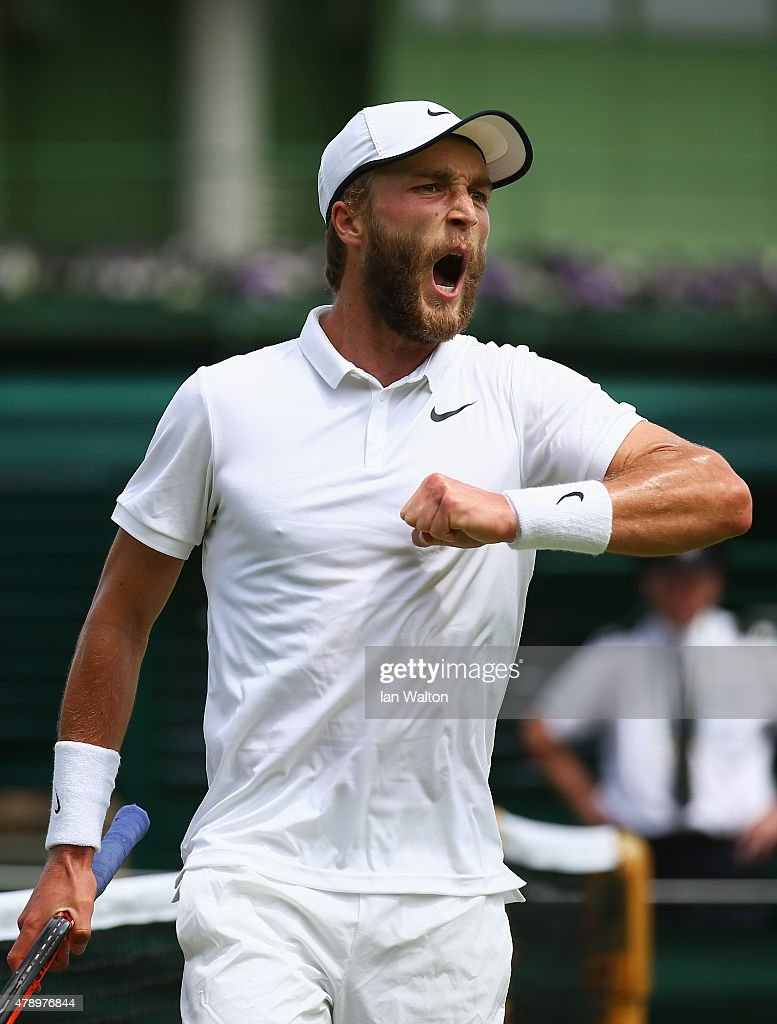 Liam Broady of Great Britain reacts during his match against Marinko Matosevic of Australia in their Gentlemen's Singles first round match during day one of the Wimbledon Lawn Tennis Championships at the All England Lawn Tennis and Croquet Club on June 29, 2015 in London, England.